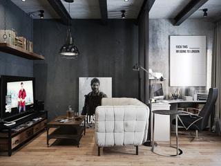 炫酷黑色北欧风 单身公寓设计