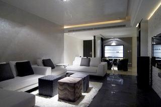 深色系现代风三室两厅装潢设计