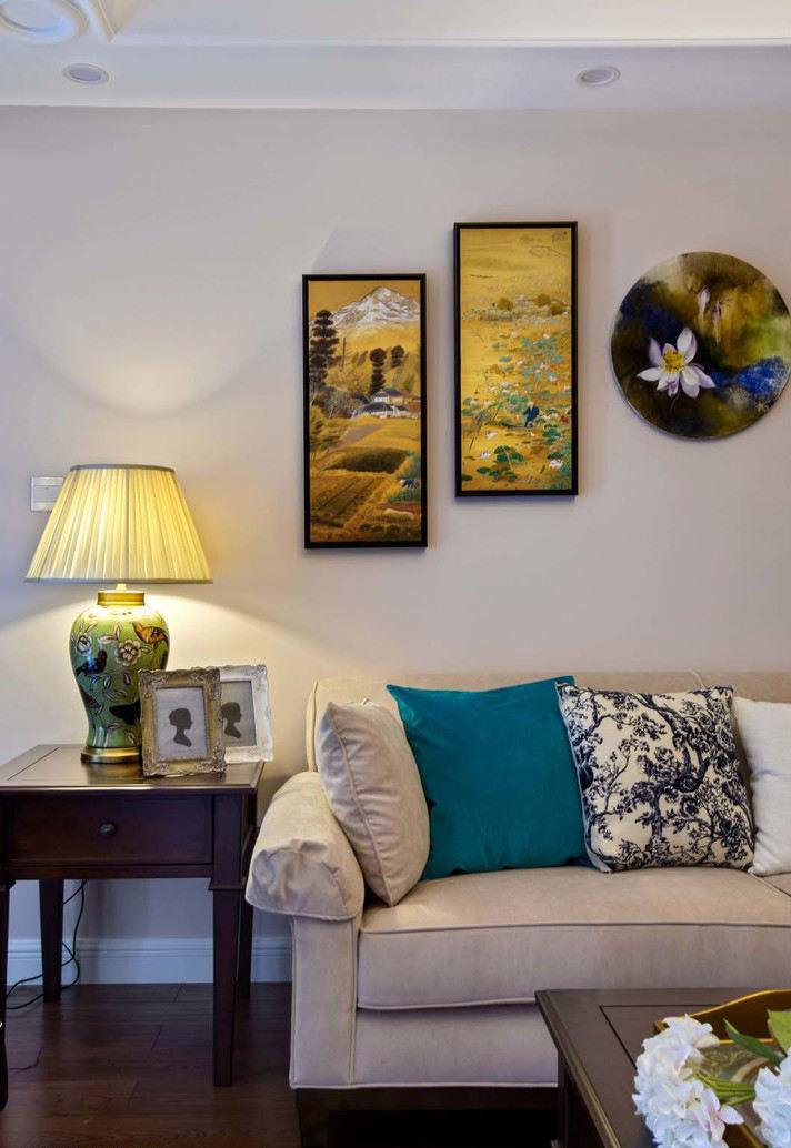 复古美式沙发相片墙设计