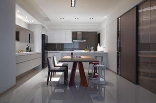 时尚现代餐厨房一体装修借鉴