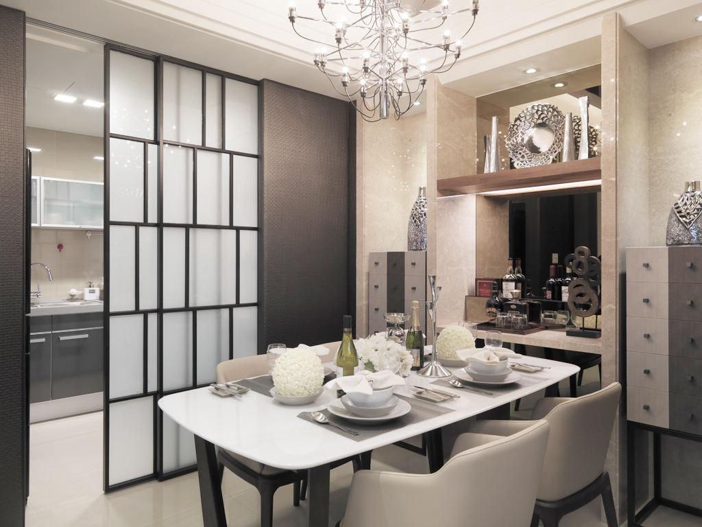 新古典设计装修餐厅厨房移门隔断设计装潢图