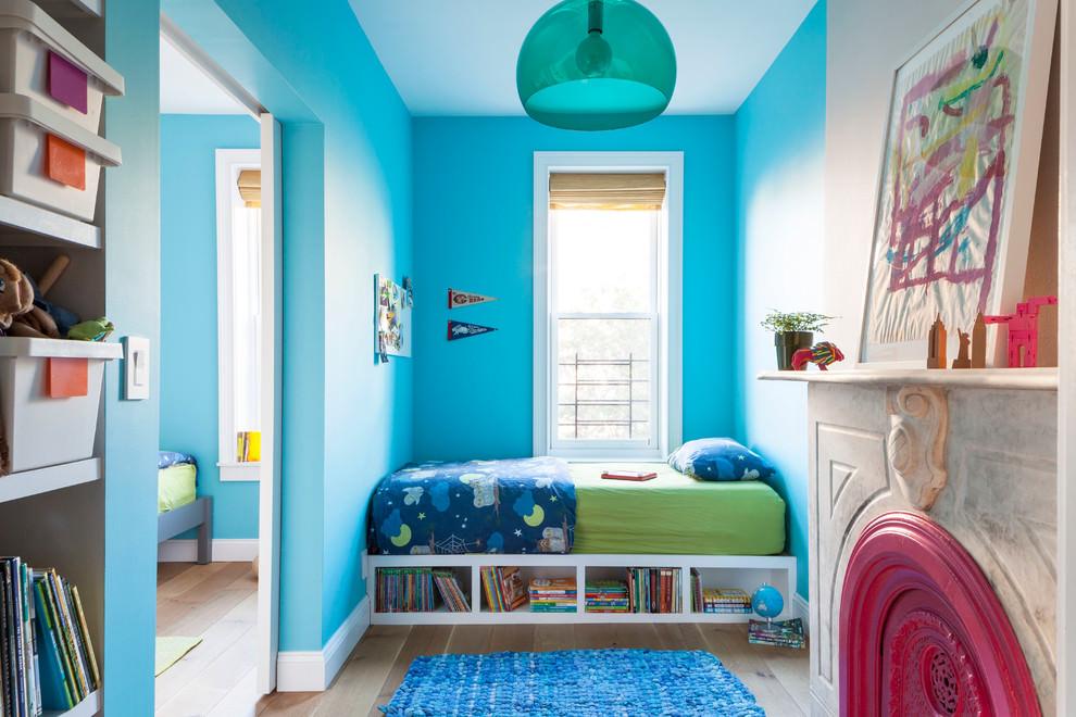 蓝色唯美简约儿童房装饰图
