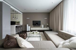 简洁大方优雅现代客厅窗帘装饰效果图
