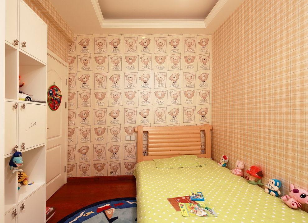 温馨现代儿童房墙纸装饰图