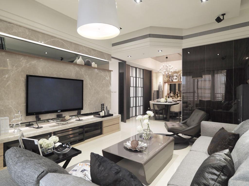 现代新古典客厅大理石电视背景墙装饰效果图