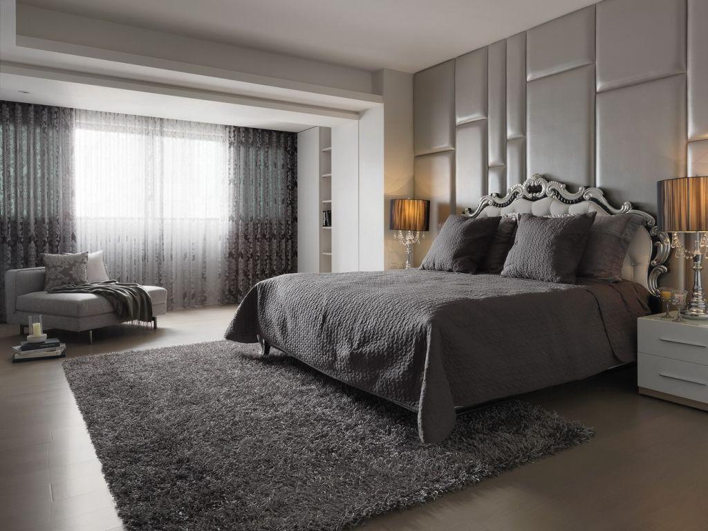 时尚现代卧室灰色调家装效果图