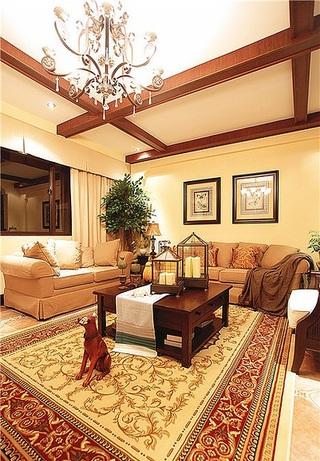 奢华暖色调复古美式三室两厅设计