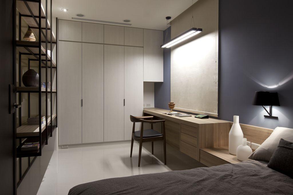 素雅别致现代卧室书房一体设计装修图