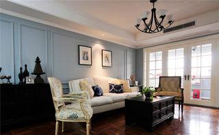 美式客厅蓝色背景墙装饰
