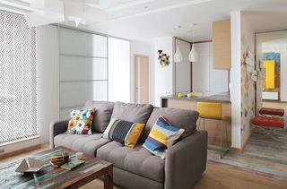 黄色优雅创意现代小户型室内装潢效果图