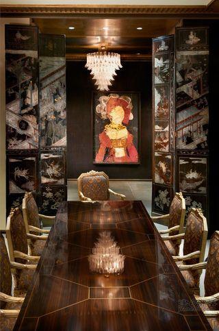 新古典艺术风餐厅背景墙设计