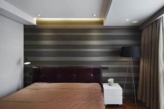 时尚现代风卧室条纹背景墙设计