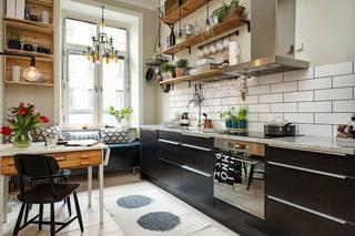 北欧风情 小户型厨房书房一体设计