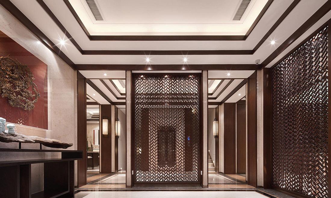 奢华新中式别墅玄关 镂空隔断设计