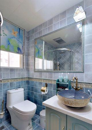 复古蓝色地中海风情马赛克卫生间装饰