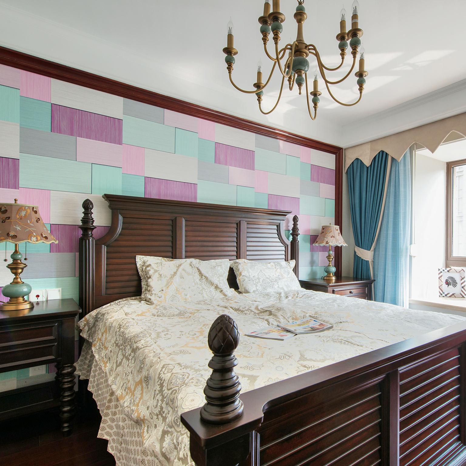 美式乡村风卧室高背床装饰图
