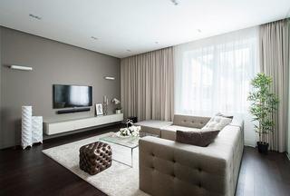 现代装修风格客厅咖啡色电视背景墙设计