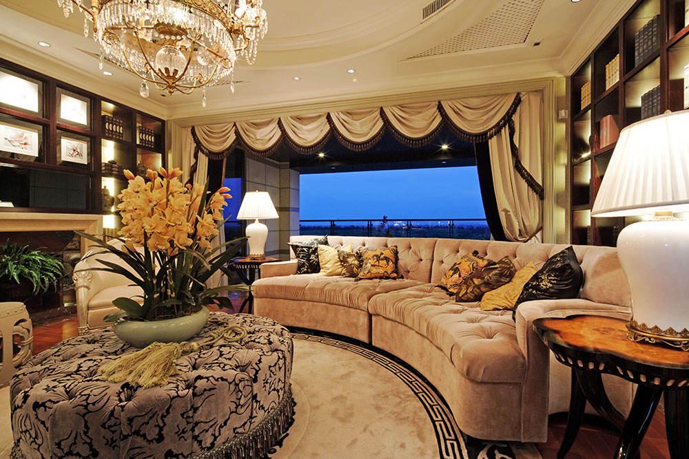 时尚古典欧式客厅窗帘效果图