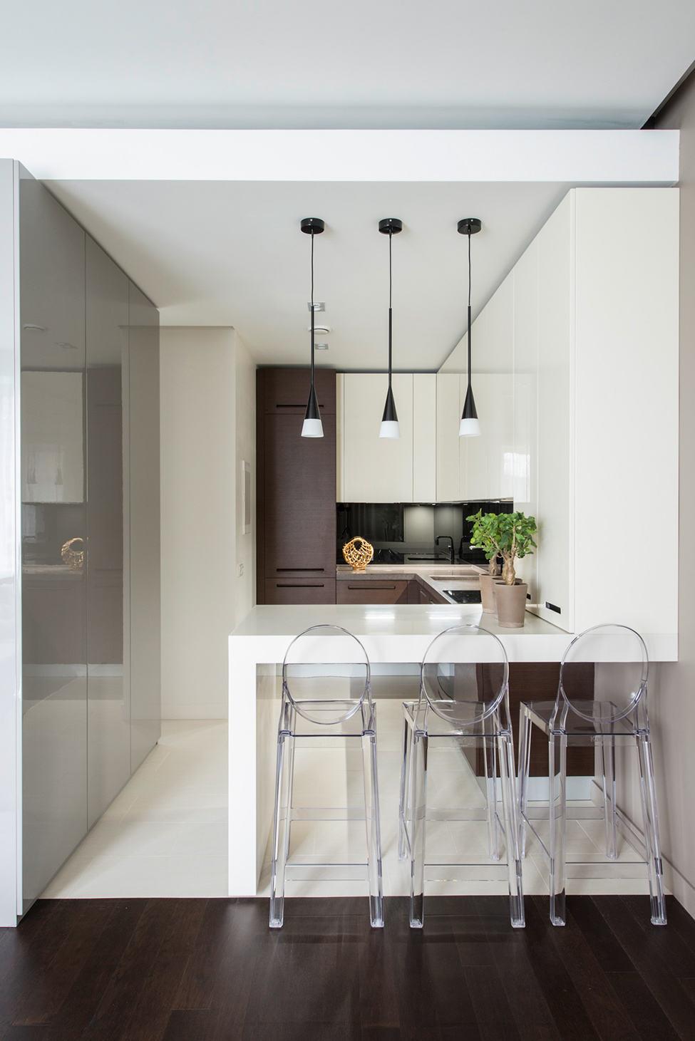 时尚简洁现代家装室内吧台透明水晶椅配置效果图