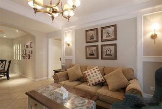 复古美式客厅 沙发照片墙效果图