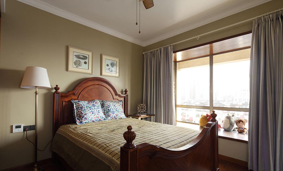 美式乡村风卧室高背床设计