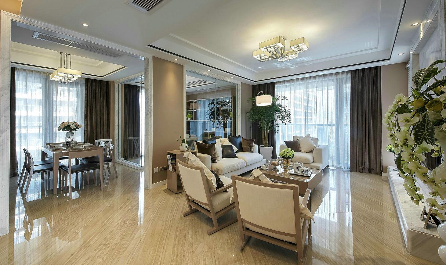 优雅美式客厅吊顶效果图