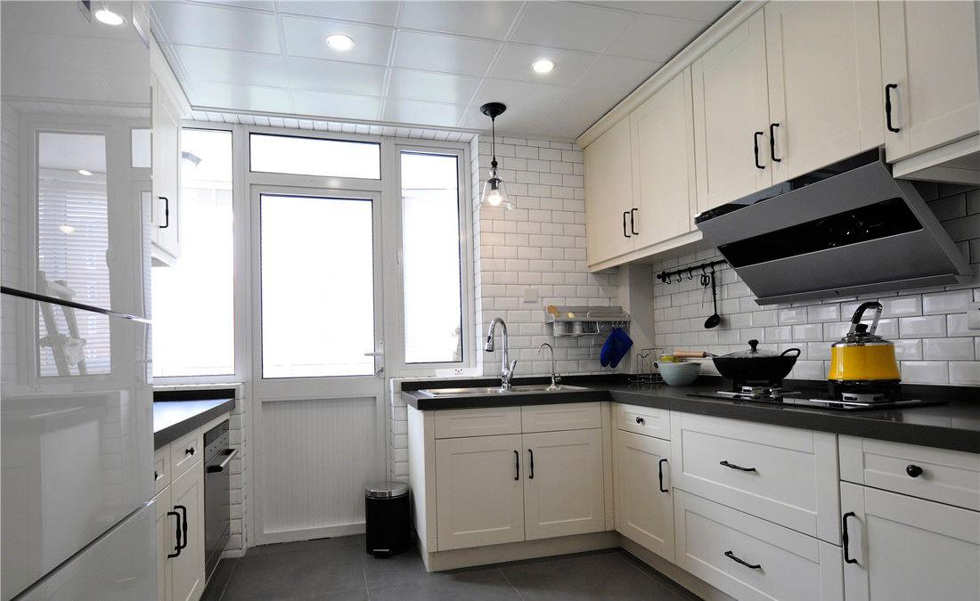 文艺美式厨房 橱柜效果图