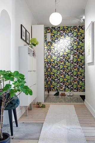 北欧新古典玄关 绿色背景墙装饰