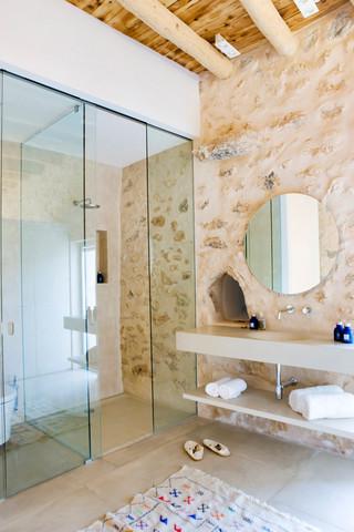 原木自然风卫生间 玻璃淋浴房设计