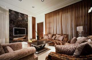 美式客厅窗帘装饰图