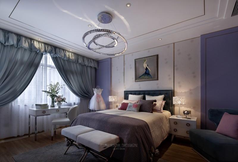 紫色梦幻北欧卧室设计效果图