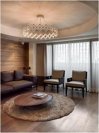 素雅现代客厅圆形吊顶效果图