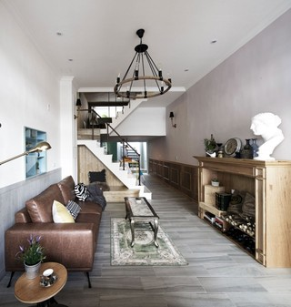 古朴美式乡村别墅客厅吊灯装饰效果图