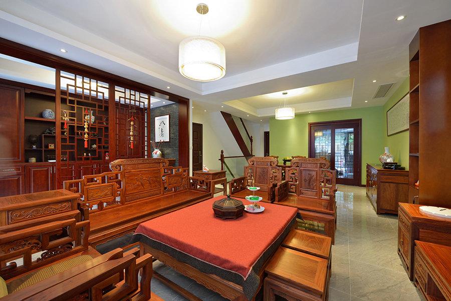 现代中式风格别墅室内石膏吊顶效果图