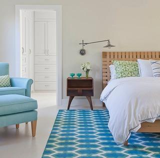 清新简欧风格 卧室蓝色地毯设计