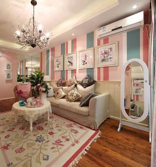 田园风格粉色客厅装修效果图