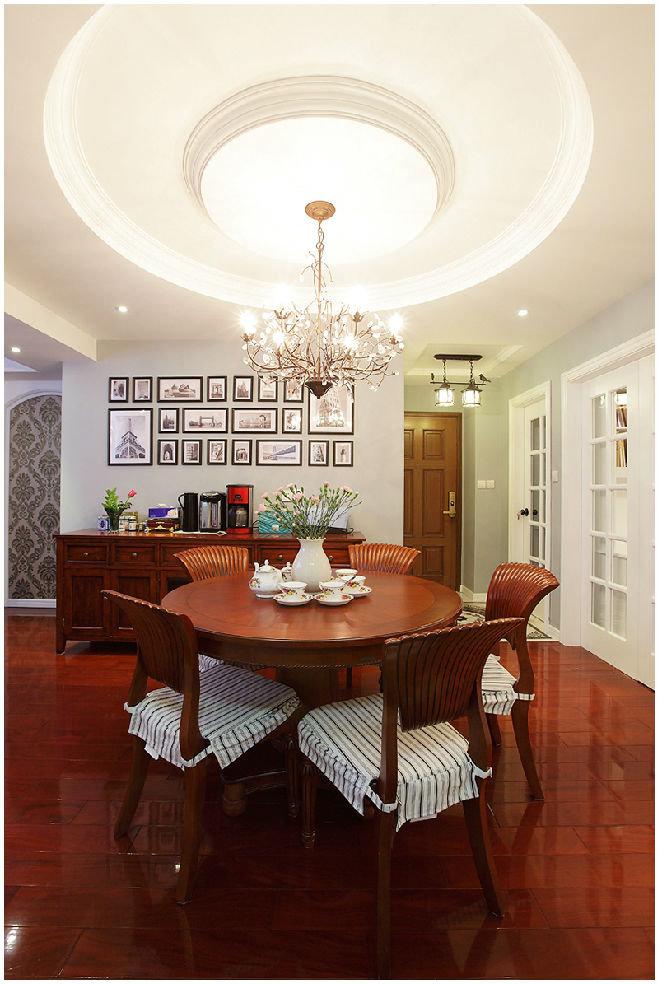 红木大气古典美式风格餐厅圆形吊顶设计效果图