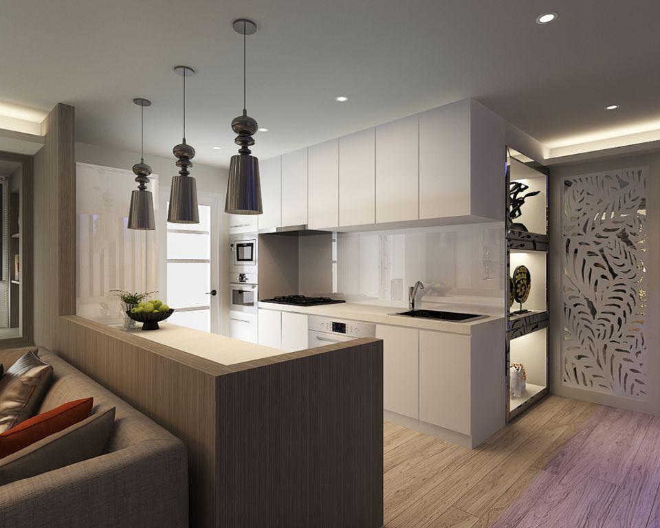 清爽现代日式厨房白色橱柜效果图
