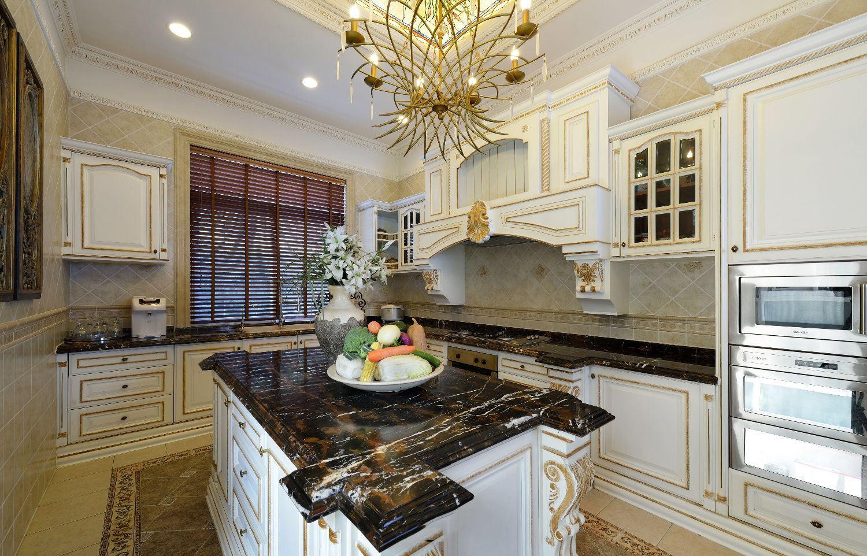 奢华欧式新古典厨房吧台效果图
