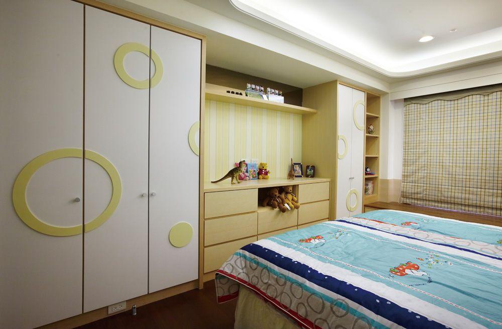 现代家装儿童房整体衣柜设计订制图