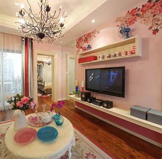 粉色田园风客厅电视背景墙设计图