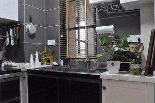 时尚黑色简约厨房效果图