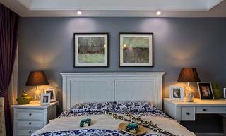 蓝色复古美式 卧室背景墙设计