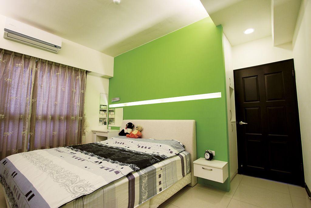 宜家简约风 绿色卧室背景墙设计