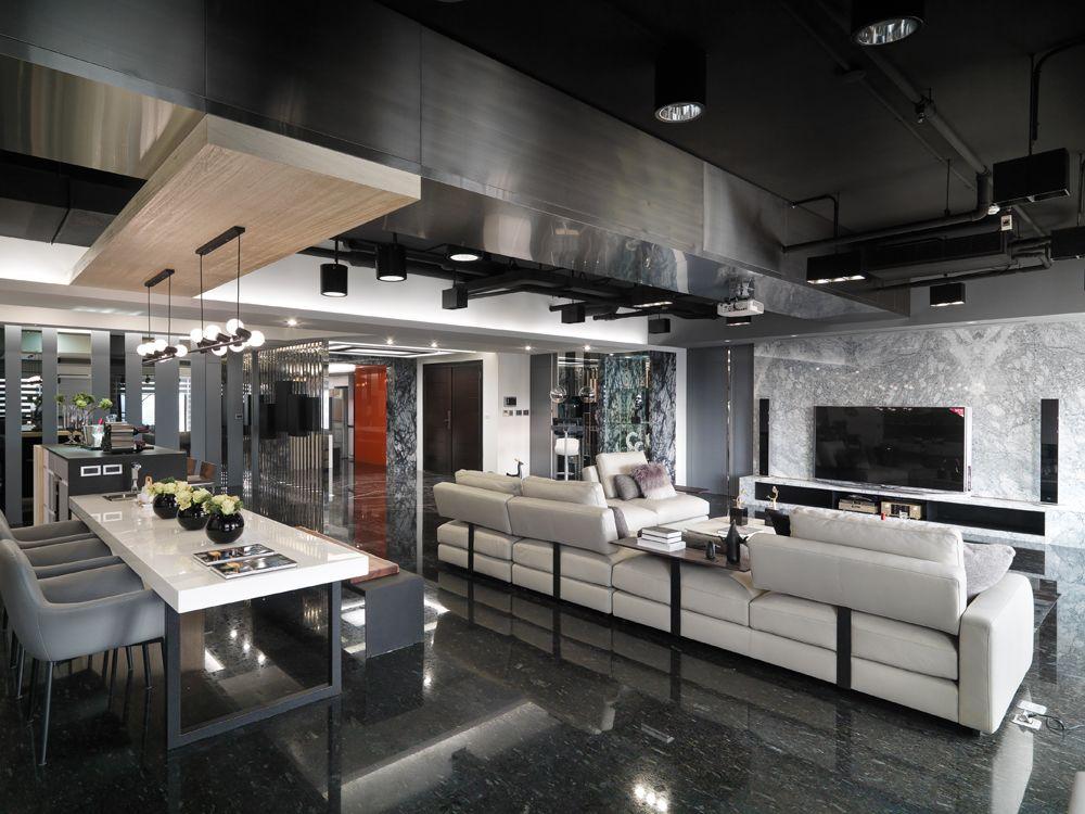 黑色系后现代 客餐厅吊顶设计