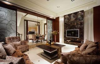美式风格 客厅大理石电视背景墙