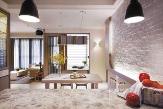 简约设计现代时尚餐厅石灰砖背景墙装饰效果图