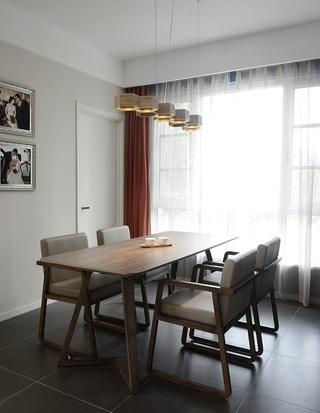 简约宜家风格餐厅实木餐桌椅装饰效果图
