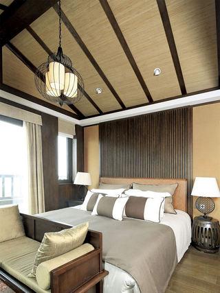 原木和风日式卧室吊顶效果图