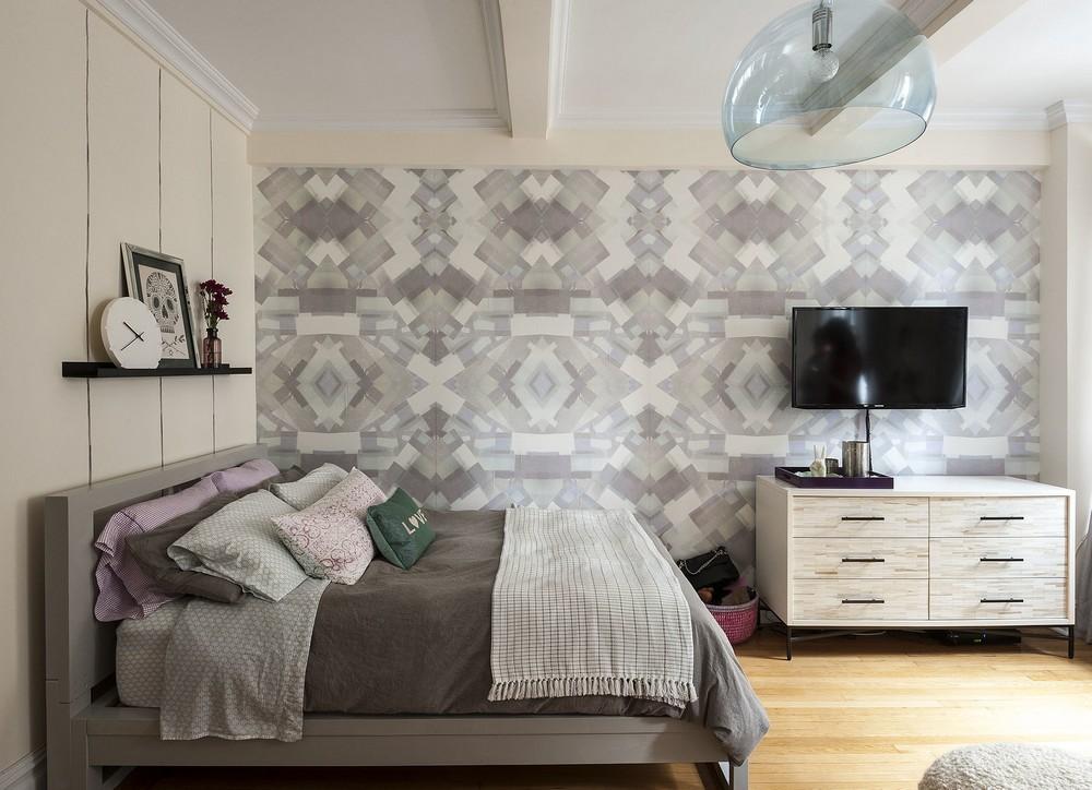 潮流时尚现代小户型卧室马赛克墙纸装饰效果图